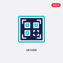 Two Color Qr Code Vector Icon From Delivery And Logistic Concept. Isolated Blue Qr Code Vector Sign Symbol Can Be Use For Web, Mobile And Logo. Eps 10