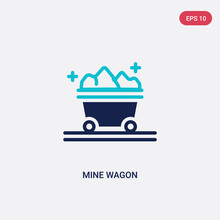 Two Color Mine Wagon Vector Icon From Desert Concept. Isolated Blue Mine Wagon Vector Sign Symbol Can Be Use For Web, Mobile And Logo. Eps 10