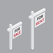 For Rent And Sale Isometric Sign
