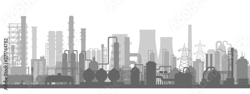Stock vector illustration of an industrial zone with chemical factories, plants, ironworks, warehouses, enterprises. Background  in the flat style