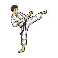 Karate Athlete Kick Foot Up On Head Area Color Sketch Engraving Vector Illustration. Scratch Board Style Imitation. Black And White Hand Drawn Image.