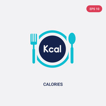 Two Color Calories Vector Icon From Food Concept. Isolated Blue Calories Vector Sign Symbol Can Be Use For Web, Mobile And Logo. Eps 10