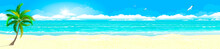 Tropical Sandy Beach And Ocean. Panorama Of A Tropical Sandy Beach. Ocean Coast. Landscape Of The Tropical Coast. Sea Shore Landscape. Ocean, Sky, Sun And Sand