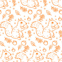 Seamless Pattern With  A  Squirrels