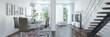 canvas print picture - 3d Illustation - Modernes Loft mit großen Fenster - Helles Wohnzimmer mit einem Esstisch und einer großen Couch - Panorama