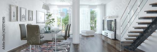 Fényképezés  3d Illustation - Modernes Loft mit großen Fenster - Helles Wohnzimmer mit einem