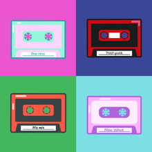 Retro Audio Cassettes Flat Icons Set. 80s, 90s Color Compact Tapes. Nostalgic, Vintage Isolated Vector Outline Illustrations. Music Listening, Record, Play Cartoon Color Symbols