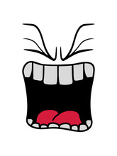 Brüllen Wütend Sauer Mund