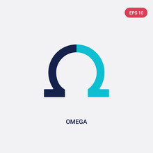 Two Color Omega Vector Icon From Greece Concept. Isolated Blue Omega Vector Sign Symbol Can Be Use For Web, Mobile And Logo. Eps 10