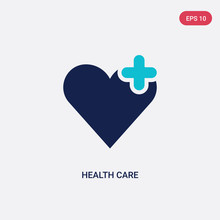 Two Color Health Care Vector Icon From Health And Medical Concept. Isolated Blue Health Care Vector Sign Symbol Can Be Use For Web, Mobile And Logo. Eps 10