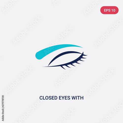 two color closed eyes with lashes and brows vector icon from