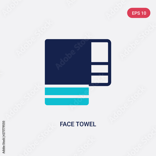 two color face towel vector icon from hygiene concept