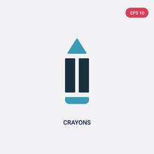 Two Color Crayons Vector Icon From Kid And Baby Concept. Isolated Blue Crayons Vector Sign Symbol Can Be Use For Web, Mobile And Logo. Eps 10