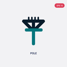 Two Color Pole Vector Icon From Maps And Flags Concept. Isolated Blue Pole Vector Sign Symbol Can Be Use For Web, Mobile And Logo. Eps 10