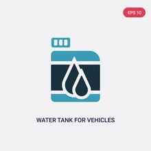 Two Color Water Tank For Vehicles Vector Icon From Mechanicons Concept. Isolated Blue Water Tank For Vehicles Vector Sign Symbol Can Be Use For Web, Mobile And Logo. Eps 10