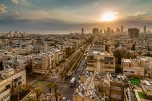 Sunrise Over Tel Aviv's City Skyscrapers, Tel Aviv, Israel