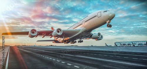 Airplane taking off from the airport. Canvas Print