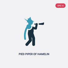 Two Color Pied Piper Of Hamelin Vector Icon From Music Concept. Isolated Blue Pied Piper Of Hamelin Vector Sign Symbol Can Be Use For Web, Mobile And Logo. Eps 10