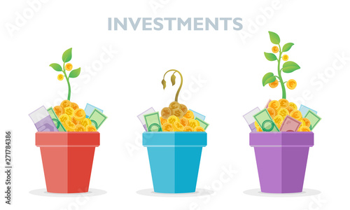 Set of pots with money and growing plants with coins in it. Asset allocation investment idea vector illustration