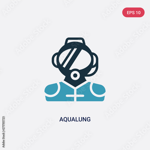 Photo two color aqualung vector icon from nautical concept