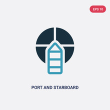 Two Color Port And Starboard Vector Icon From Nautical Concept. Isolated Blue Port And Starboard Vector Sign Symbol Can Be Use For Web, Mobile And Logo. Eps 10
