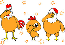 Dabbing Family Chicken Decoration For T-shirt