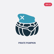Two Color Pirate Pumpkin Vector Icon From Other Concept. Isolated Blue Pirate Pumpkin Vector Sign Symbol Can Be Use For Web, Mobile And Logo. Eps 10