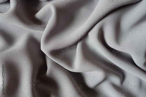 Fotografie, Obraz  Draped grey crepe georgette fabric from above