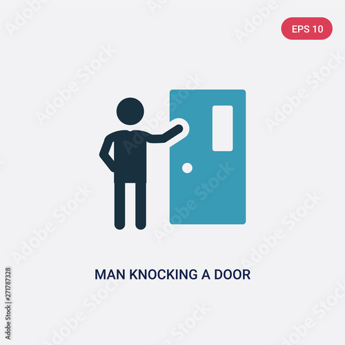 Foto two color man knocking a door vector icon from people concept