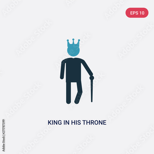 two color king in his throne vector icon from people concept Canvas Print