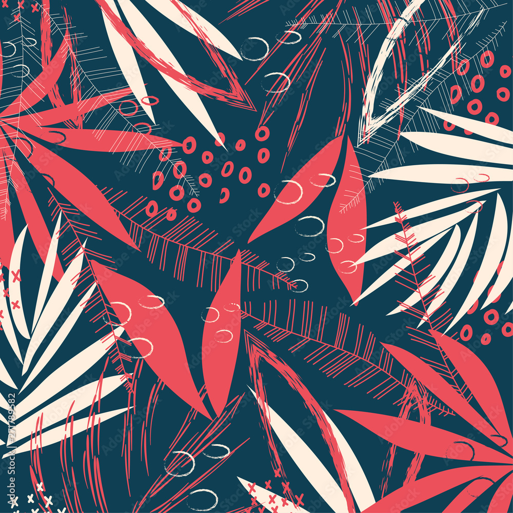 Abstract pattern with tropical leaves and plants on a dark geometric background. Vector design. Jungle print. Textiles and printing. Floral background.