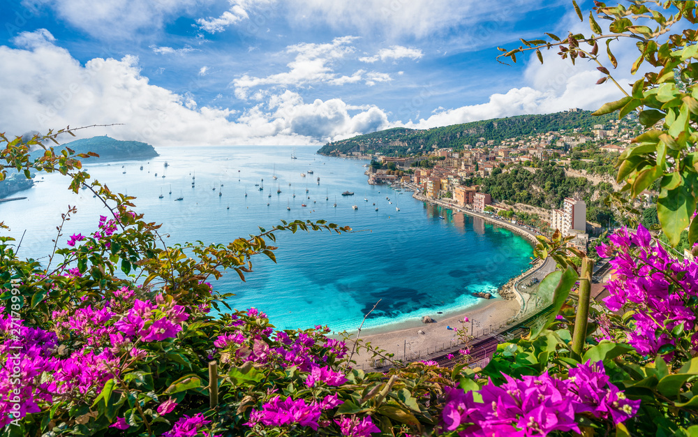Fototapety, obrazy: Aerial view of French Riviera coast with medieval town Villefranche sur Mer, Nice region, France