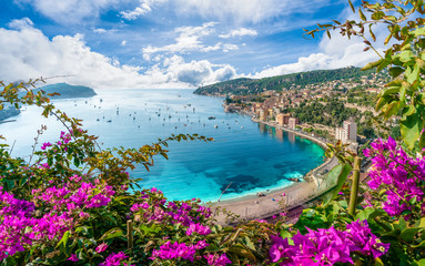 Aerial view of French Riviera coast with medieval town Villefranche sur Mer, ...