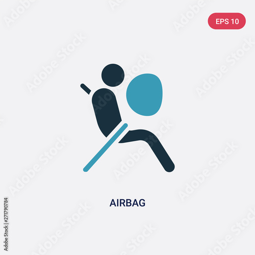 two color airbag vector icon from security concept Canvas Print