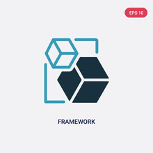 Two Color Framework Vector Icon From Shapes Concept. Isolated Blue Framework Vector Sign Symbol Can Be Use For Web, Mobile And Logo. Eps 10