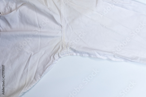 Keuken foto achterwand Fractal waves yellow dirty stain sweat on white armpit shirt