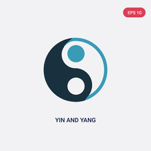Two Color Yin And Yang Vector Icon From Shapes And Symbols Concept. Isolated Blue Yin And Yang Vector Sign Symbol Can Be Use For Web, Mobile Logo. Eps 10