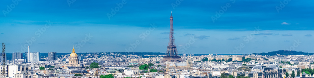 Fototapety, obrazy:     Paris, panorama of the Eiffel tower, with the Seine and bridges, and the most famous monuments