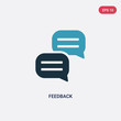 two color feedback vector icon from social media marketing concept. isolated blue feedback vector sign symbol can be use for web, mobile and logo. eps 10