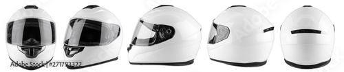 Fotografía Set collection of white motorcycle carbon integral crash helmet isolated white background