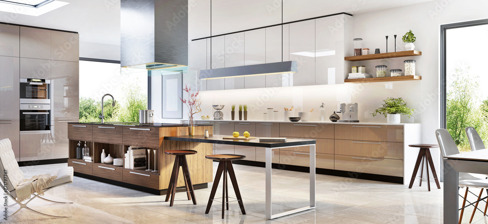 Fototapeta Modern kitchen interior design in a luxury house