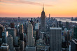 Sunset view from the Top of the Rock observation deck. View to Empire State Building