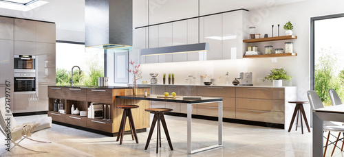 Fototapeta Modern kitchen interior design in a luxury house obraz