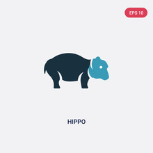 Two Color Hippo Vector Icon From Animals Concept. Isolated Blue Hippo Vector Sign Symbol Can Be Use For Web, Mobile And Logo. Eps 10