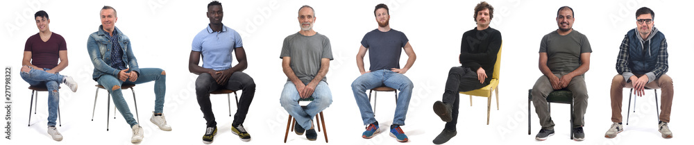 Fototapeta group of mixed man sitting on chair on white background