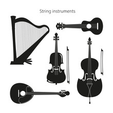 Set Of Stringed Instruments On The White Background.