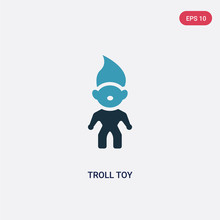 Two Color Troll Toy Vector Icon From Toys Concept. Isolated Blue Troll Toy Vector Sign Symbol Can Be Use For Web, Mobile And Logo. Eps 10