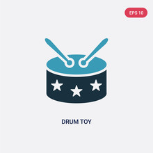 Two Color Drum Toy Vector Icon From Toys Concept. Isolated Blue Drum Toy Vector Sign Symbol Can Be Use For Web, Mobile And Logo. Eps 10