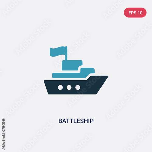 Stampa su Tela two color battleship vector icon from transport concept