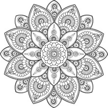 Black Complex Doodle Mandala On A Transparent Background, For Printable Coloring